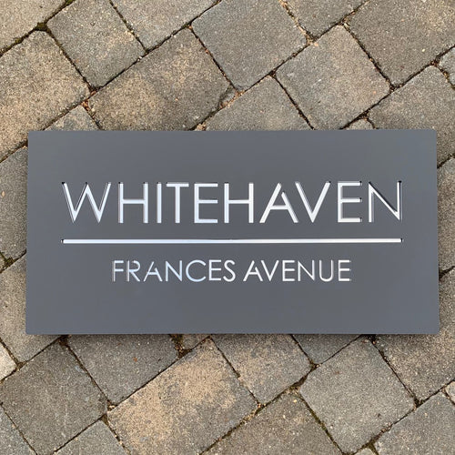 Modern Rectangle House Name / Address Sign 60 cm x 30 cm - KREATIV DESIGN