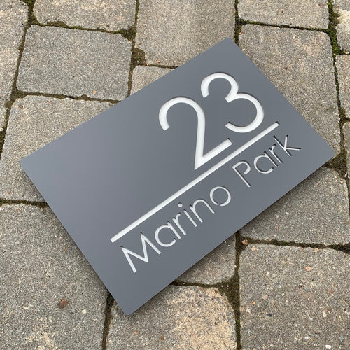 Modern Contemporary Rectangle House Address Sign 30 cm x 20 cm - KREATIV DESIGN