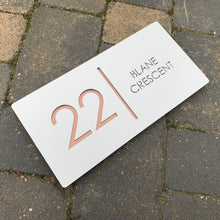 Load image into Gallery viewer, Modern Landscape Rectangle House Number Sign 30 cm x 15 cm - KREATIV DESIGN