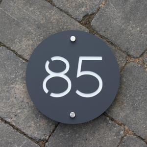 Modern Round House Address Sign 20 cm Diameter - Kreativ Design Ltd