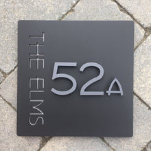 Load image into Gallery viewer, Modern Square House Address Sign with 3D Digits 20 cm x 20 cm - KREATIV DESIGN