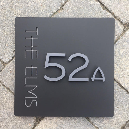 Modern Square House Address Sign with 3D Digits 20 cm x 20 cm - KREATIV DESIGN