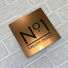 Afbeelding in Gallery-weergave laden, Brushed Metal Effect Modern Square House Number and Address Sign 20 cm x 20 cm - Kreativ Design Ltd
