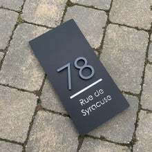 Load image into Gallery viewer, Long Rectangle House Address Sign with stand out 3D Digits 15 cm x 30 cm - Kreativ Design Ltd