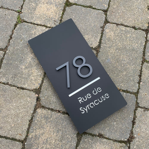 Long Rectangle House Address Sign with stand out 3D Digits 15 cm x 30 cm - KREATIV DESIGN