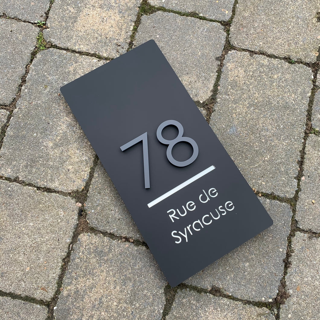 Long Rectangle House Address Sign with stand out 3D Digits 15 cm x 30 cm - Kreativ Design Ltd