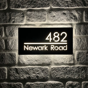 Illuminated LED Modern House Number Personalised Address Plaque 30 x 15cm - KREATIV DESIGN
