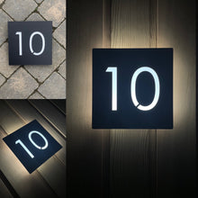 Load image into Gallery viewer, Large Illuminated Modern House Number Sign with Low voltage LED Bespoke Address Plaque 30 x 30 cm - KREATIV DESIGN