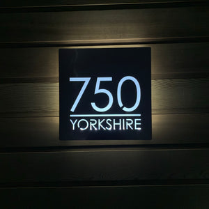 Large Illuminated Modern House Number Sign with Low voltage LED Bespoke Address Plaque 30 x 30 cm - KREATIV DESIGN
