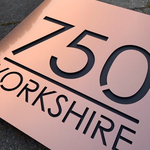 Large Illuminated Modern House Number Sign with Low voltage LED Bespoke Address Plaque 30 x 30 cm - Kreativ Design Ltd