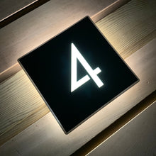 Lataa kuva Galleria-katseluun, Illuminated Modern House Number Sign with Low voltage LED 20 x 20cm Address Plaque - Kreativ Design Ltd