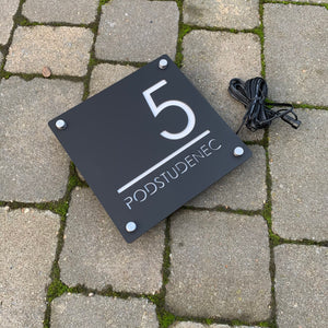 Illuminated Modern House Number Sign with Low voltage LED 20 x 20cm Address Plaque - KREATIV DESIGN