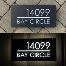 Load image into Gallery viewer, Large Illuminated LED Modern House Address Sign | Bespoke Address Plaque 40 x 20 cm - Kreativ Design Ltd