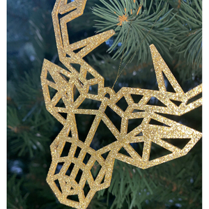 Christmas Tree Decorations | Geometric Stag / Reindeer Contemporary Design | Pack of 3 Hanging Baubles - Kreativ Design Ltd