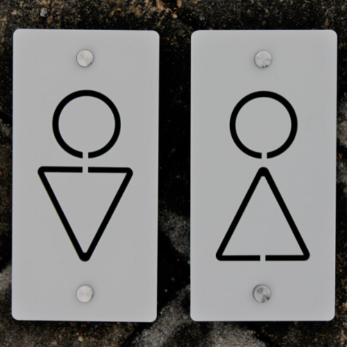 Bathroom Toilet / Rest Room (Male and Female) Acrylic Signs 10cm x 20cm - Kreativ Design Ltd