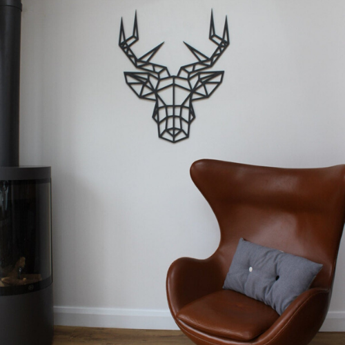Geometric Stag Head Wall Art, Unique Contemporary Design - Kreativ Design Ltd