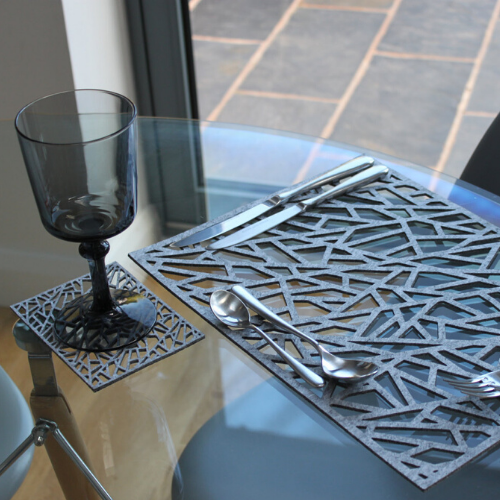 Geometric Placemat and Coaster set, Contemporary Laser Cut Rectangular Design in Thick Melange Felt - KREATIV DESIGN