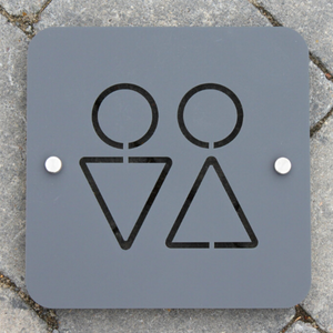 Modern Toilet Sign for bathrooms and homes Large Square Plaque 20cm x20cm Original Unique Laser Cut Design. - Kreativ Design Ltd