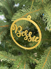 Load image into Gallery viewer, Personalised Glitter Christmas Tree Name Decoration - Kreativ Design Ltd
