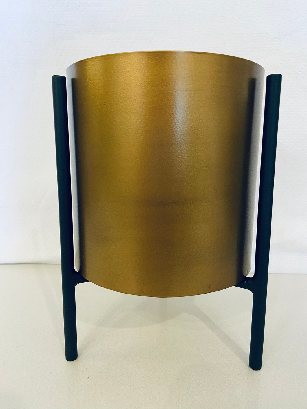 Gold Planter with Black Stand