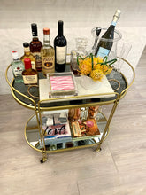 Load image into Gallery viewer, Gold Bar Cart with Smoked Glass