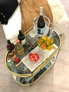Gold Bar Cart with Smoked Glass