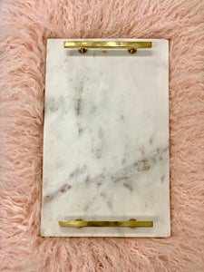 Marble Tray with Brass (Gold) Handles