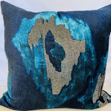 Load image into Gallery viewer, Navy Ikat Velvet Gunmetal Pillow