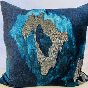 Navy Ikat Velvet Gunmetal Pillow
