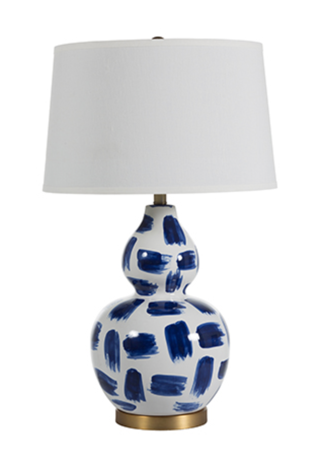 Luca Blue & White Painted Ceramic and Antique Brass Table Lamp