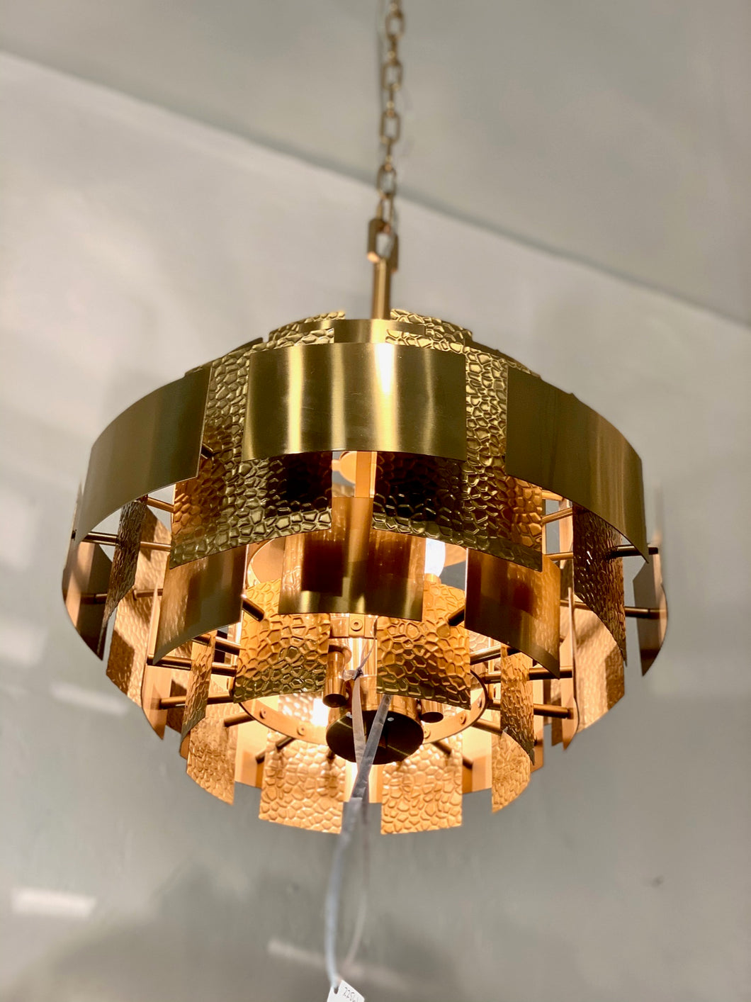 Hammered and Brushed Brass Pendant Light