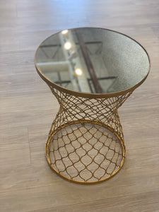 Gold End Table with Mirrored Top