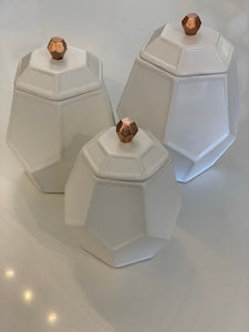 White Honeycomb Canister Set