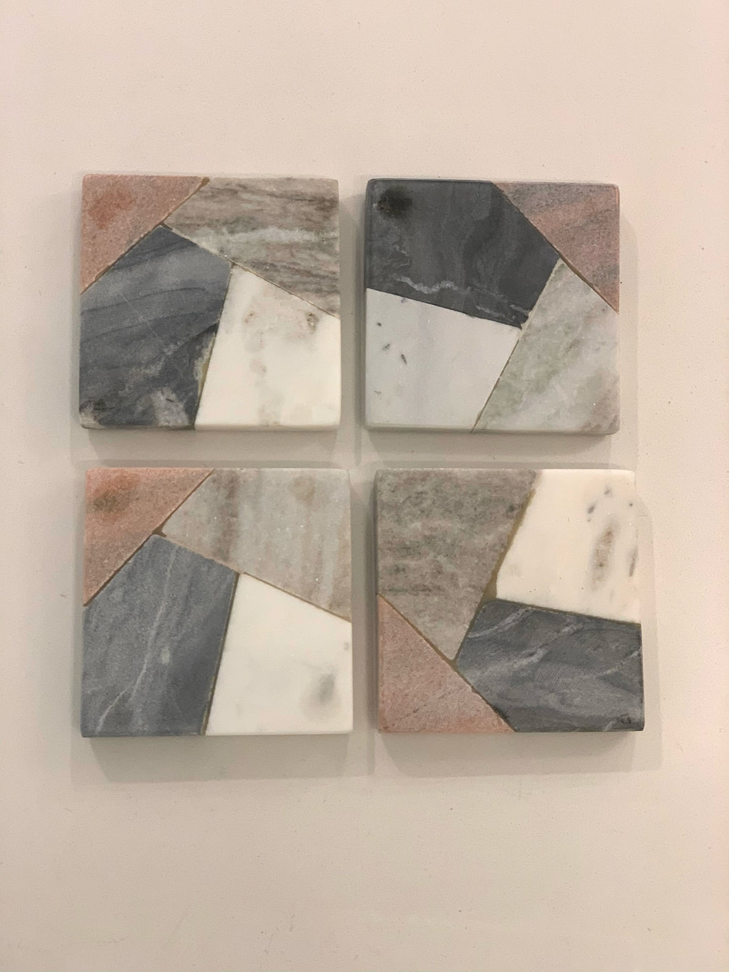 Pink Grey and White Natural Stone Coasters
