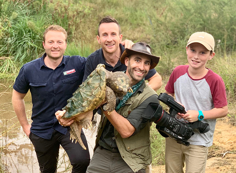 Coyote Peterson with a Snapping Turtle