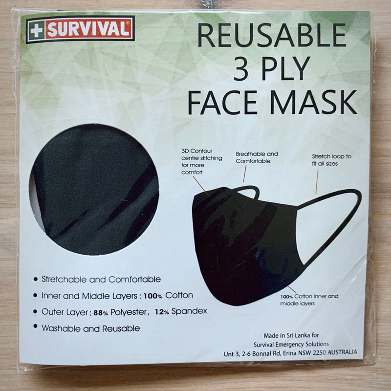 3ply Reusable, Washable Cloth Face Mask, M-L, Black