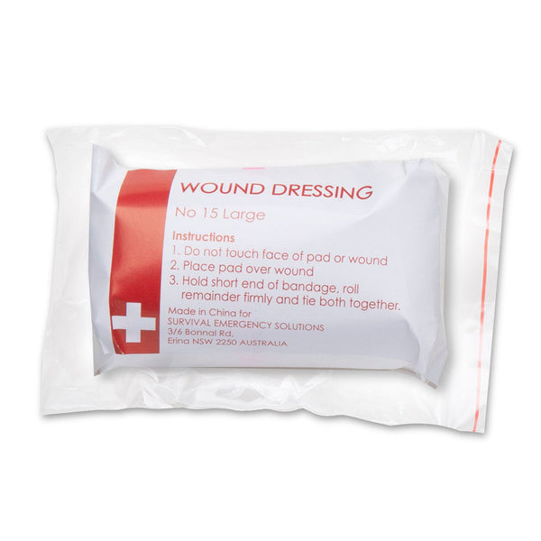 Wound dressings, No 15 large, sterile