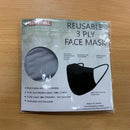 3ply Reusable, Washable Cloth Face Mask, S-M, Grey