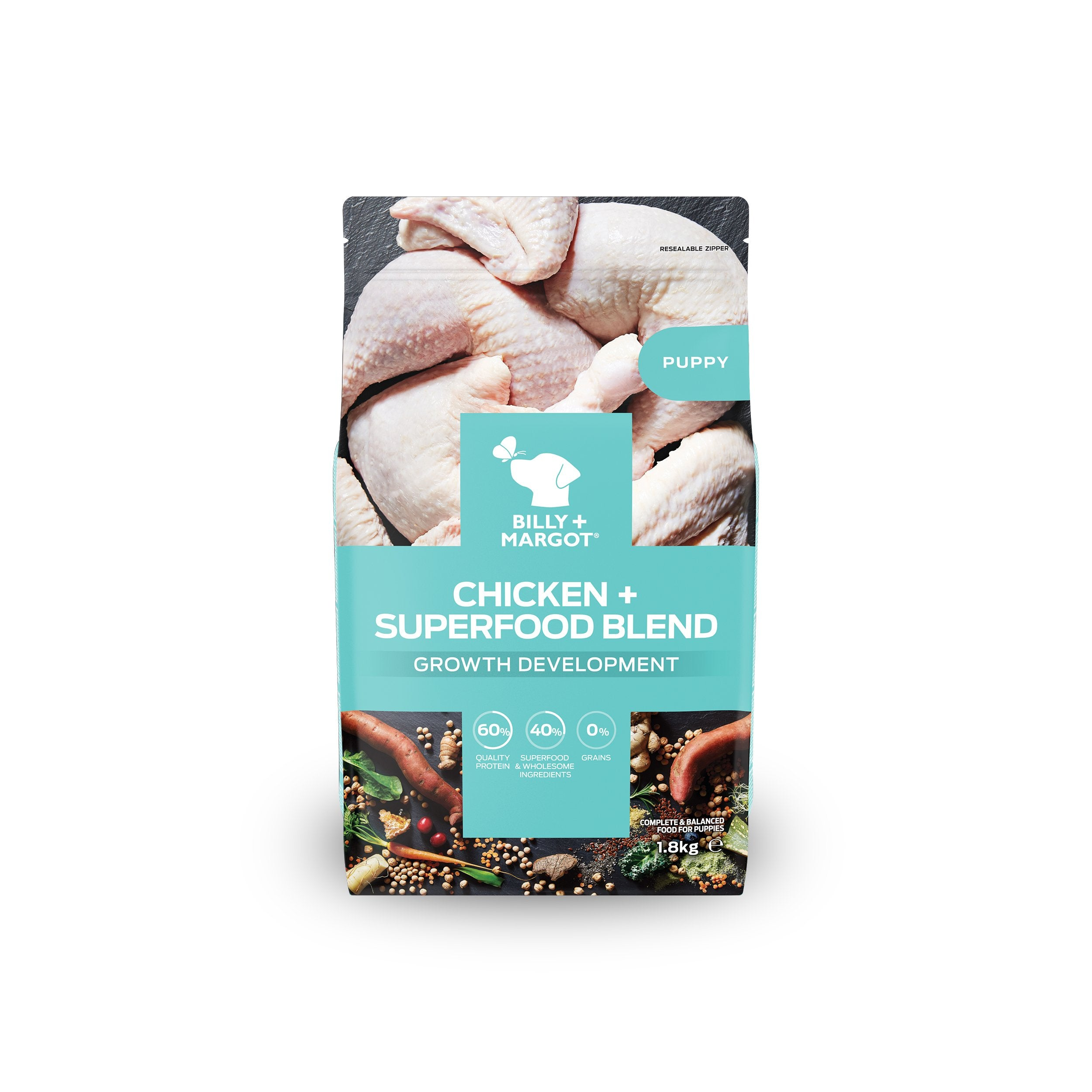 Billy + Margot Puppy: Chicken + Superfood Blend Dry Dog Food