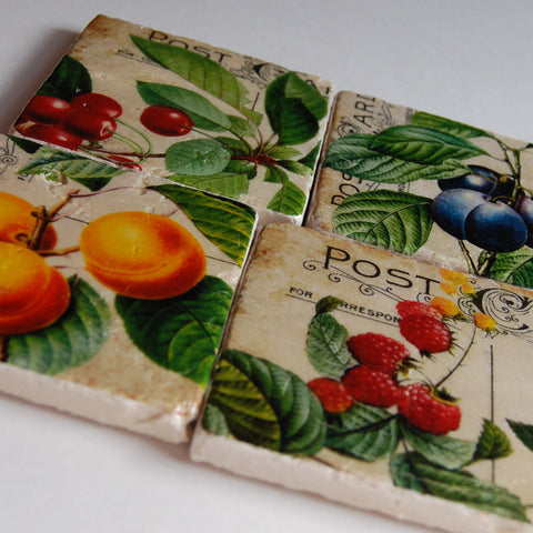 Vintage Fruit and Postcard Coasters