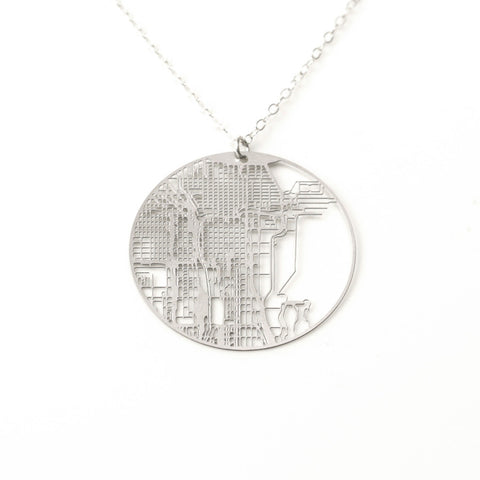 Chicago Gridded City Necklace