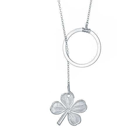 Lucky Clover Lariat Necklace (other colors available)