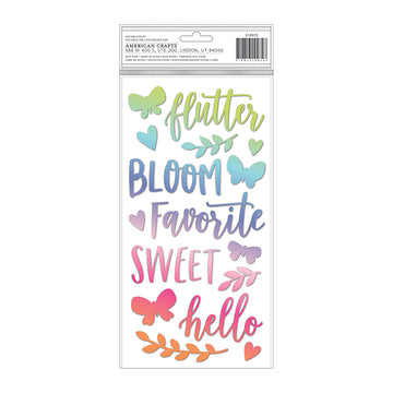 Bloom Street Puffy Phrase & Accent Stickers
