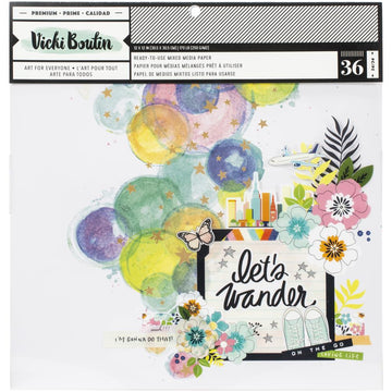 "Let's Wander - Mixed Media Background 12x12"" Paper Pad"