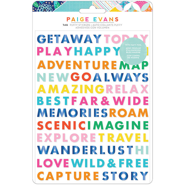 Go The Scenic Route - Puffy Word Stickers
