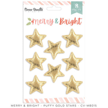 Merry & Bright - Gold Puffy Stars