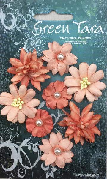 Rustic Flowers - Coral 8 Pack