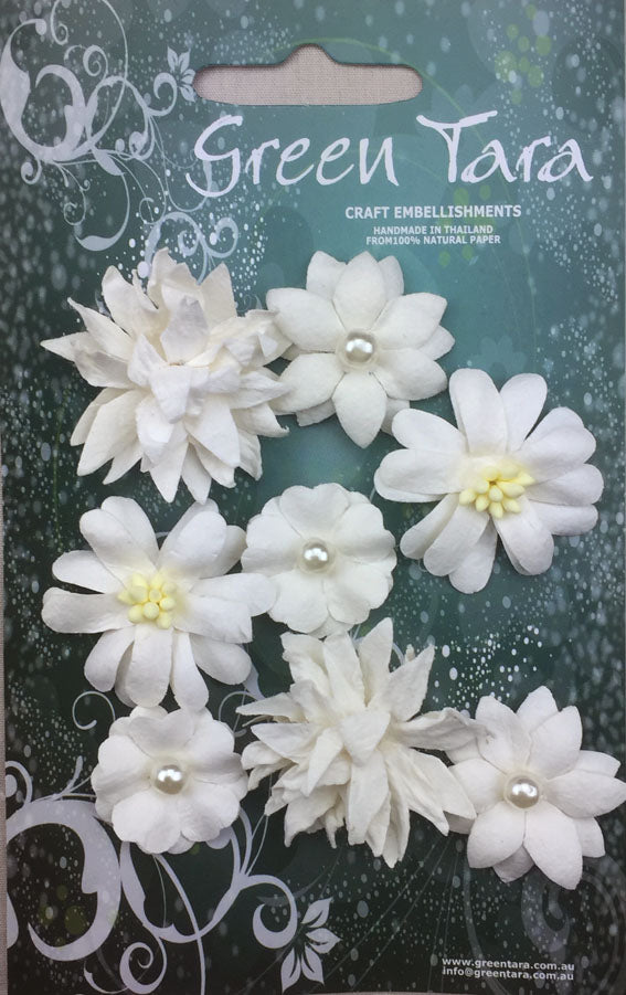 Rustic Flowers - White 8 Pack