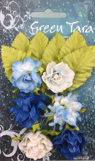 Tea Roses Flowers - Bright Blue