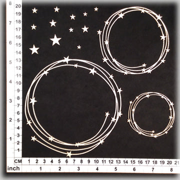 String Circles 02 Stars - Chipboard